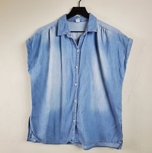 Old Navy Chambray Button Up Blouse Cap Sleeve Lg